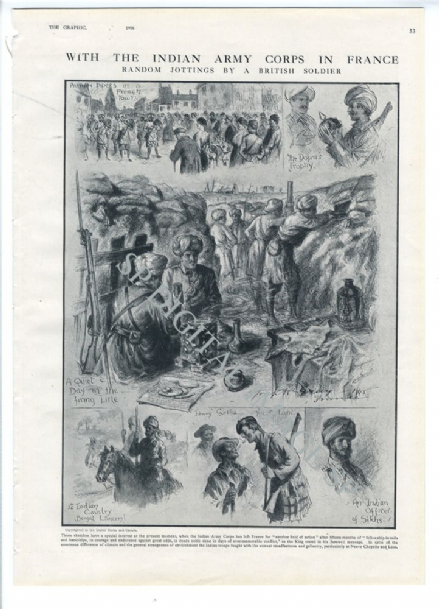 1916 WW1 Print With The INDIAN ARMY CORPS In France